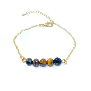 Beads on Gold Chain Dainty Bracelet Tiger Eye