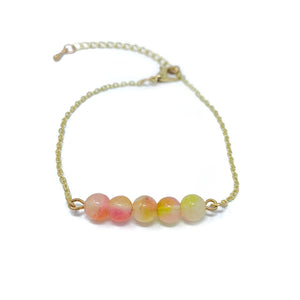 Beads on Gold Chain Dainty Bracelet Orange Sunset