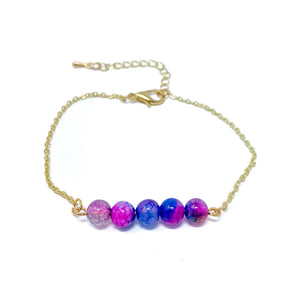 Beads on Gold Chain Dainty Bracelet Pink Blue