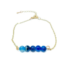 Load image into Gallery viewer, Beads on Gold Chain Dainty Bracelet Blue