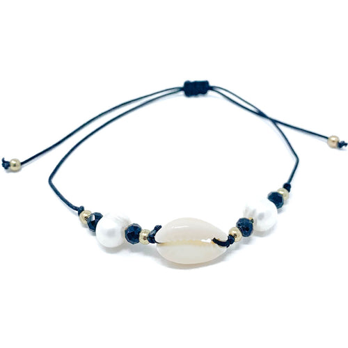 Cowrie Black String Beach Bracelet