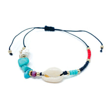 Load image into Gallery viewer, Cowrie Black String Beach Bracelet