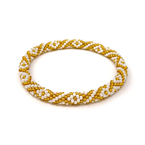 Gold Beaded Roll On Bracelet