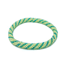 Load image into Gallery viewer, Green Beaded Roll On Bracelet