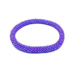 Purple Beaded Roll On Bracelet