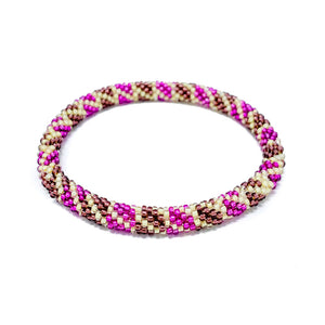 Pink Tan Beaded Roll On Bracelet