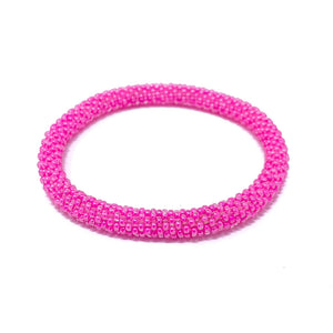 Pink Beaded Roll On Bracelet
