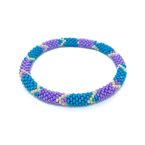 Blue Purple Beaded Roll On Bracelet