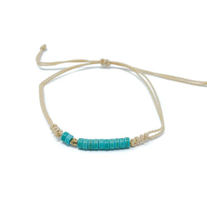 Turquoise Beaded String Beach Bracelet
