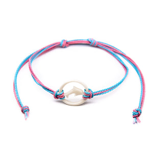girls carved bone dolphin string bracelet