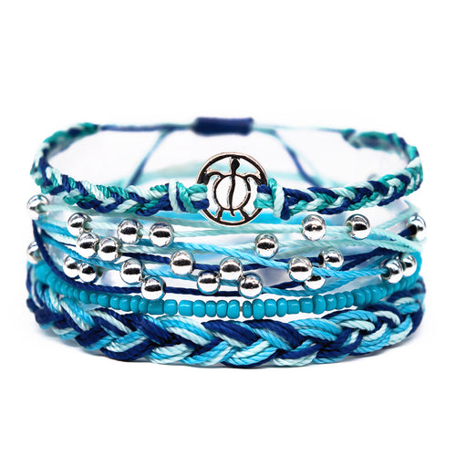 blue cute girls beach style sea turtle string bracelet stack