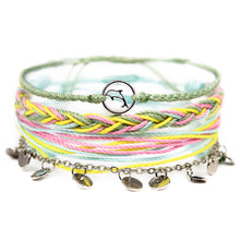 Load image into Gallery viewer, pastel green and yellow dolphin string bracelet stack