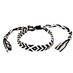 black and white braided colorful diamond woven bracelets