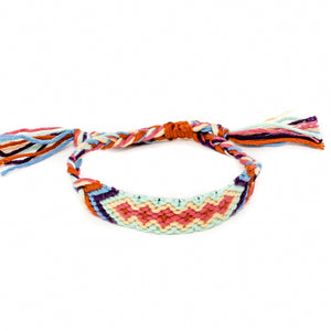 colorful diamond pattern woven braided bracelet