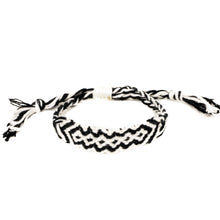 Load image into Gallery viewer, black and white woven braided hippie bracelet