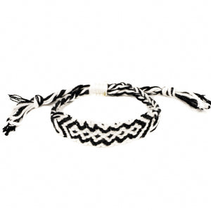 black and white woven braided hippie bracelet