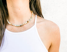 Load image into Gallery viewer, Amazonite semi precious stone beaded necklace