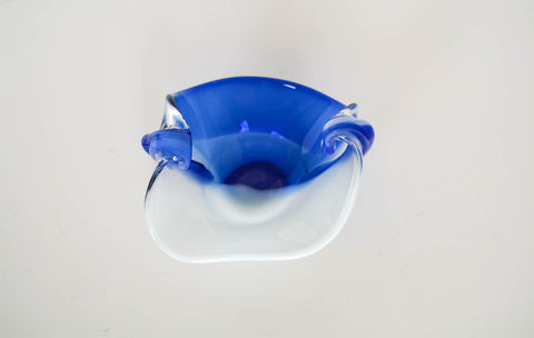 Vintage Blue and White Art Glass Bowl
