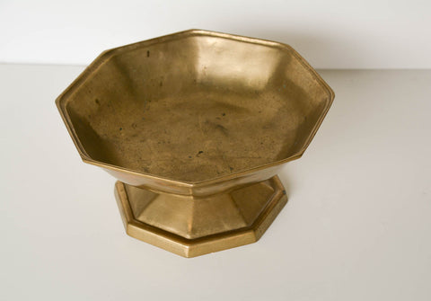 Large Vintage Brass Footed Bowl