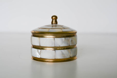 Vintage Mother of Pearl and Brass Trinket Box