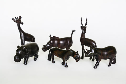 Vintage Hand Carved Wood African Animals