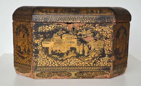 Antique Chinese Black and Gold Octogonal Sewing Box