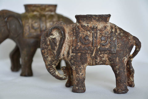Antique Iron Bank Elephants