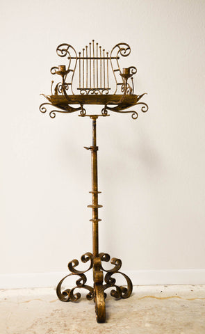 Antique Italian Gilt Lyre Music Stand