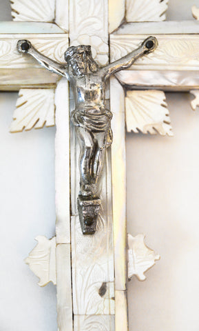 Antique Mother of Pearl Jerusalem Crucifix