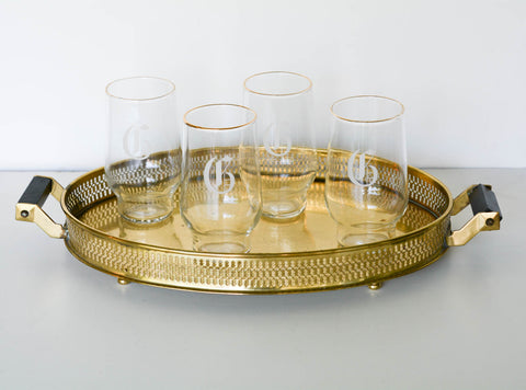 Reticulated Vintage Brass Cocktail Tray
