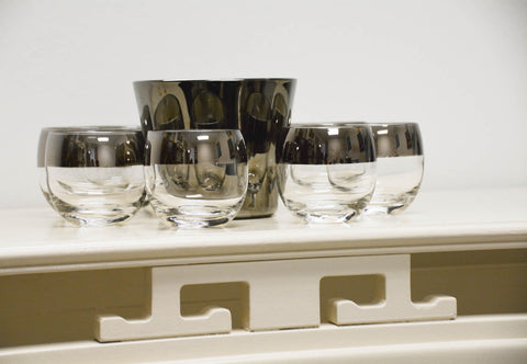 Mid Century Mercury Glass Rim Cocktail Set