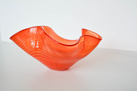 Vintage Orange Art Glass Bowl