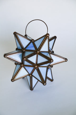 Vintage Stained Glass Star Lantern