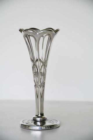 Art Nouveau Vase with Sterling Silver Overlay