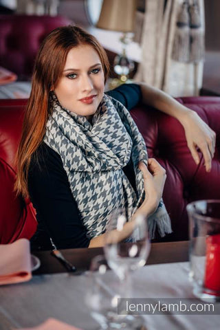 LennyScarf -46% cotton, 26 % merino wool, 5 % cashmere, 23 % bamboo viscose - Pepitka Cream & Grey