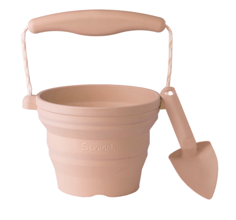 Scrunch Seedling Pot and Trowel | Blush