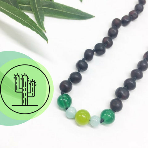 100% CERTIFIED BALTICAMBER Teething Baby Necklace | Cacti Mint