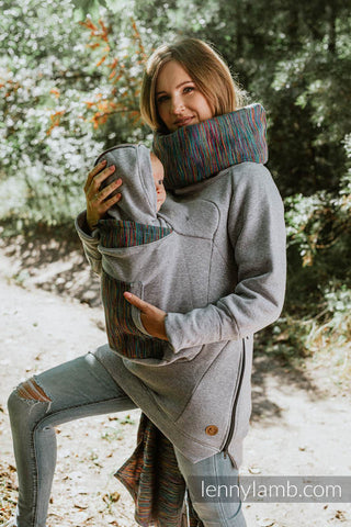 Babywearing Sweatshirt 3.0 - Grey Melange with Colorful Wind *Pre-Order