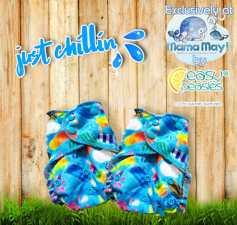 Easy Peasies - Just Chillin * NEW  & EXCLUSIVE *Pocket Diaper, Swim Diaper & double pocket Wet/Dry Bags