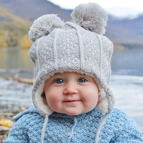 JAN & JUL Winter Knit Hat | Grey Bear (Size Large - 2-4 T)
