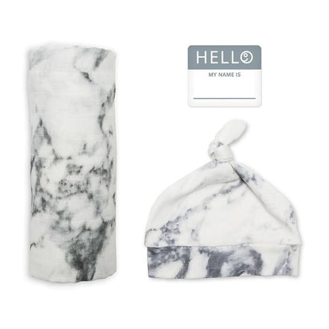 Lulujo -Hello World Blanket & Knotted Hat - Marble