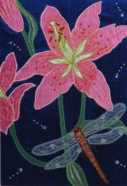 Appliqué Stargazer Lily & Dragonfly Panel Workshop with Heather Everitt Sunday 23rd June 2019