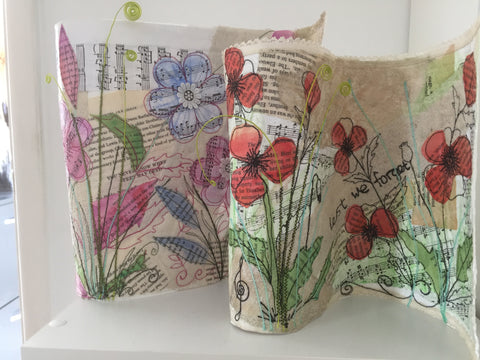 Mixed Media Embroidered Scrolls with fabrics, paper and Powertex with Kathleen Laurel Sage Sunday 15th March 2020