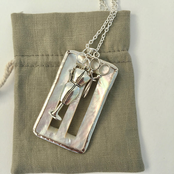 Shell Vintage Buckle in Silver Surround Necklace