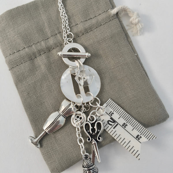 Dressmakers / Sewers Haberdashery Charm Toggle Necklace