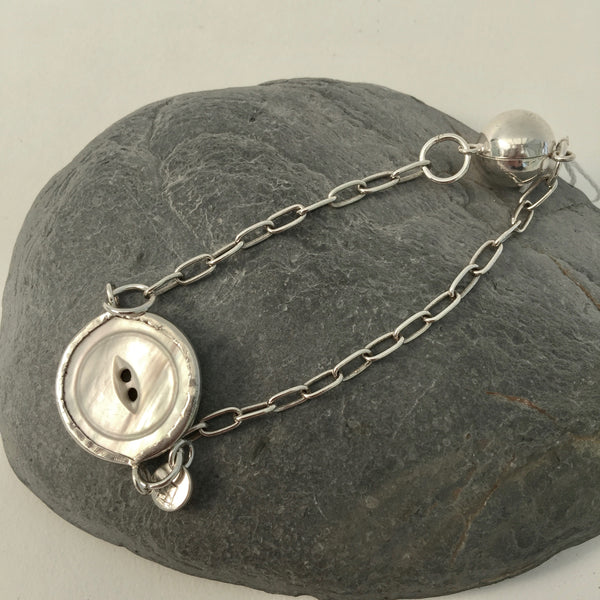 Silver Button Bracelet with Magnetic Clasp