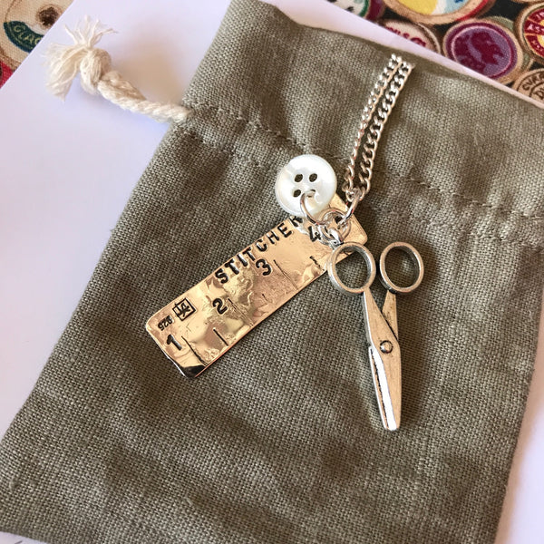 Silver Tape Measure & Scissors Sewing Charm Pendant