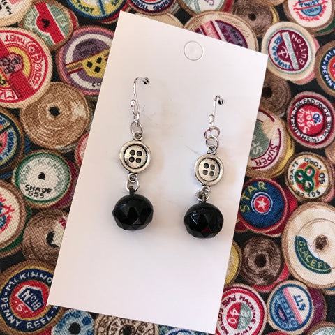 Button & Black Bead Sewing Charm Earrings