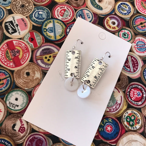 Button & Tape Measure Earrings