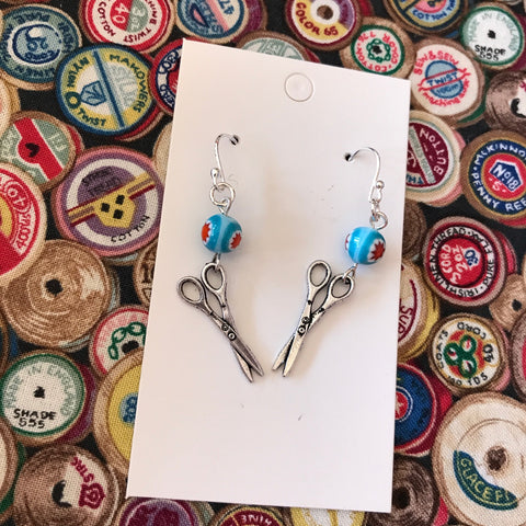 Scissor & Blue Bead Sewing Charm Earrings